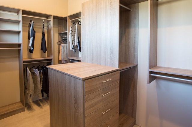 Taupe custom walk-in closet system Scottsdale