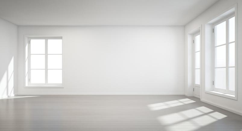 Empty white room 3D render
