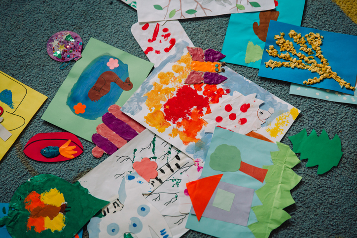 Pile of children craft projects