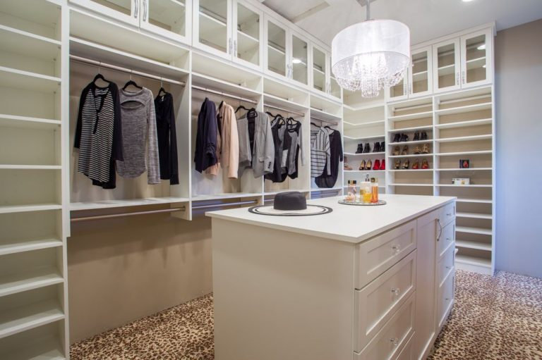 Bright white custom walk-in closet Phoenix
