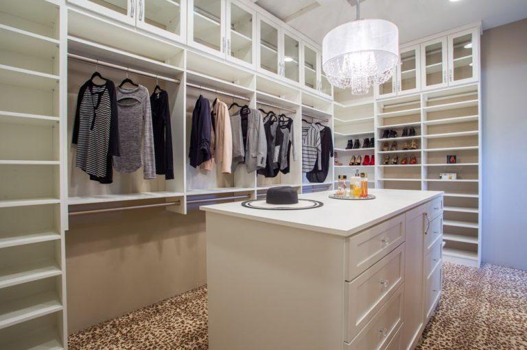 Bright white custom walk-in closet Phoenix