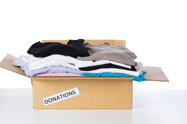 Box of clothes to donate