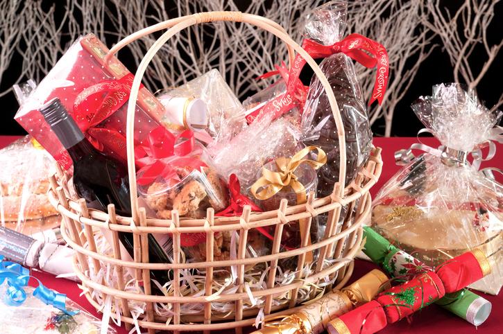 Christmas gift basket with food