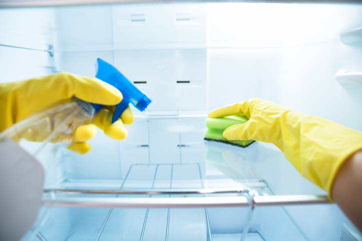 disinfecting and cleaning fridge shelves