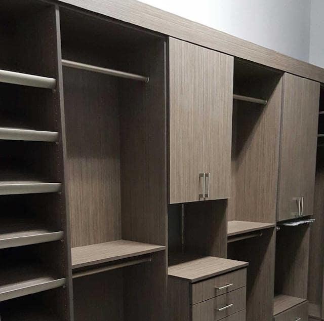 gray contemporary custom closets Phoenix shelving