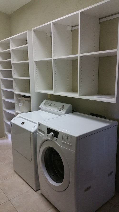 custom laundry cabinets in white Scottsdale