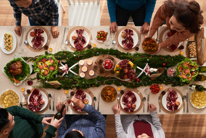 holiday gathering around a table