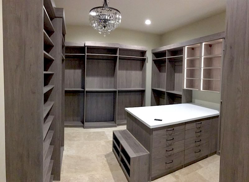 custom textured wood walk-in closet Phoenix