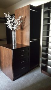 Dark wood luxurious custom closet in Phoenix