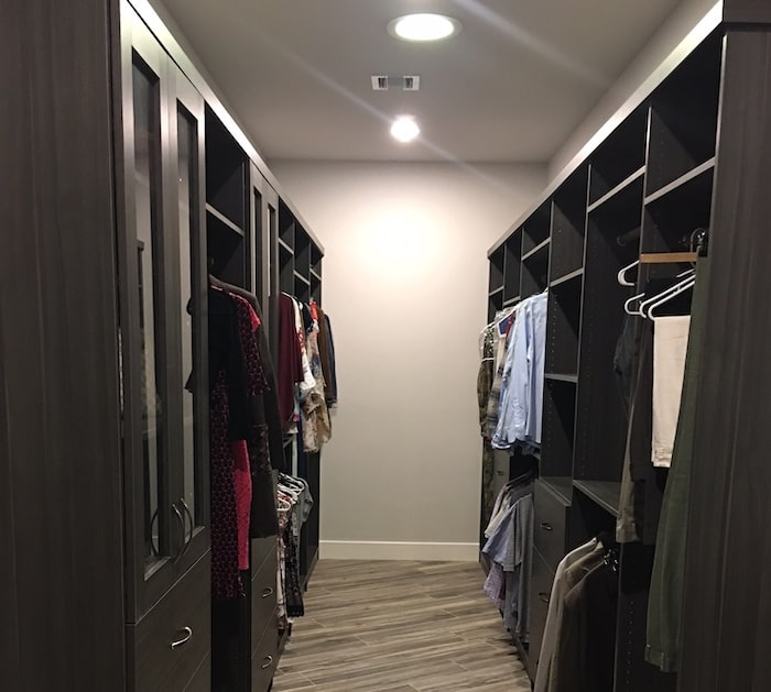 long narrow walk-in closet storage system in Cave Creek AZ