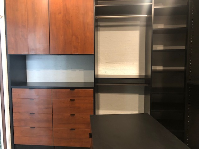 custom master closet walk-in two cabinet colors