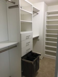 open hamper bin built into closet system in Gilbert AZ