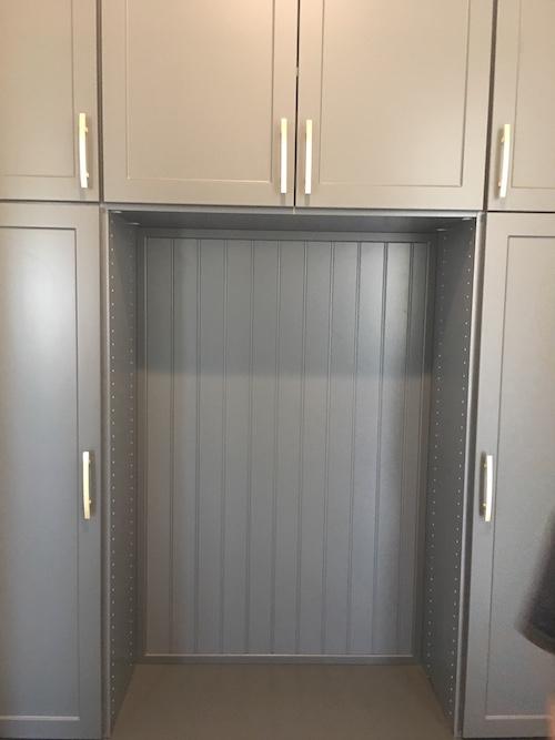 Phoenix AZ grey mudroom cabinetry close up