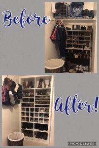 shoe shelving before and after custom closet Phoenix
