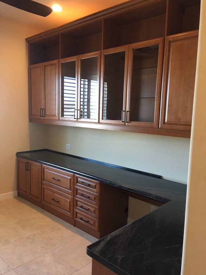 custom office desk and cabinets with glass doors Phoenix AZ