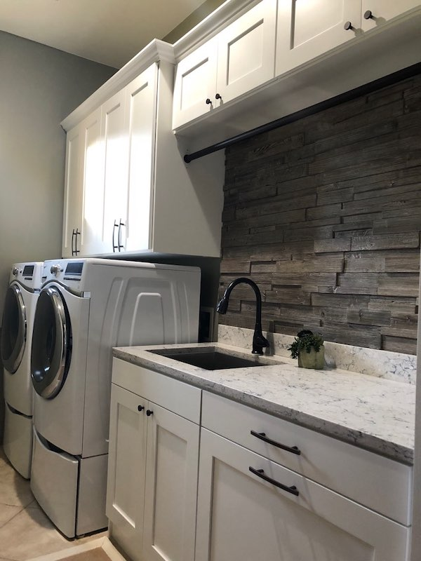 transitional laundry storage with shaker doors Phoenix