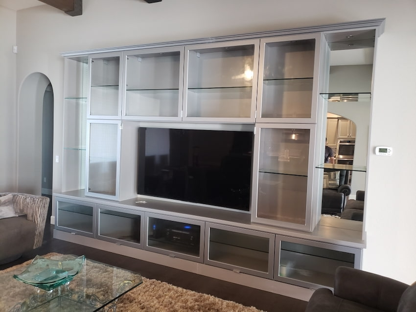 custom wall unit shelving with TV Phoenix AZ