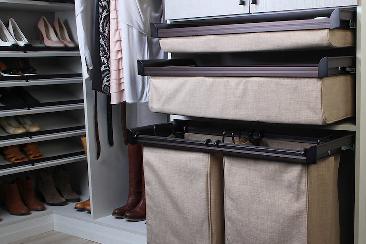 beige fabric closet organizer basket drawers by TAGHardware