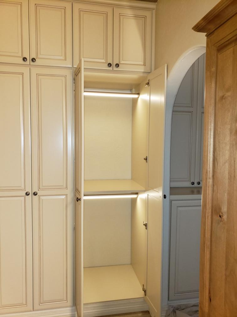 antique white custom closet hanging rod light hafele