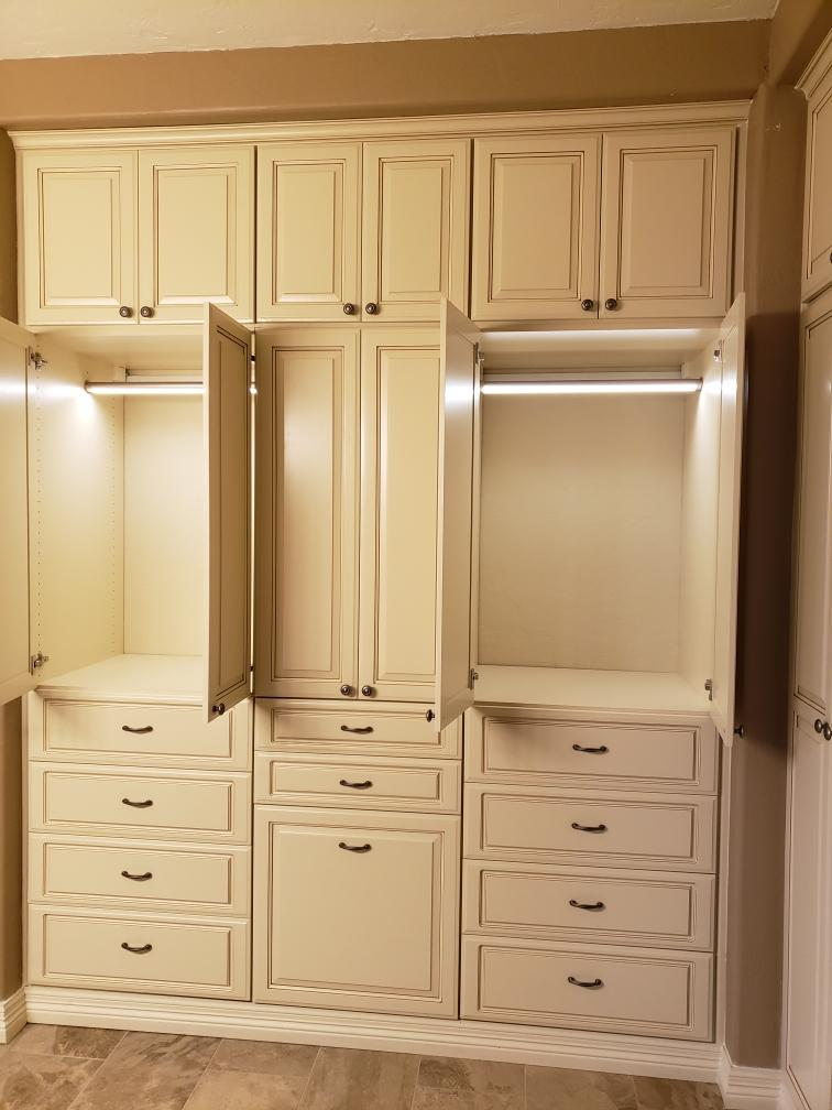 Phoenix AZ custom closet wardrobe in antique white