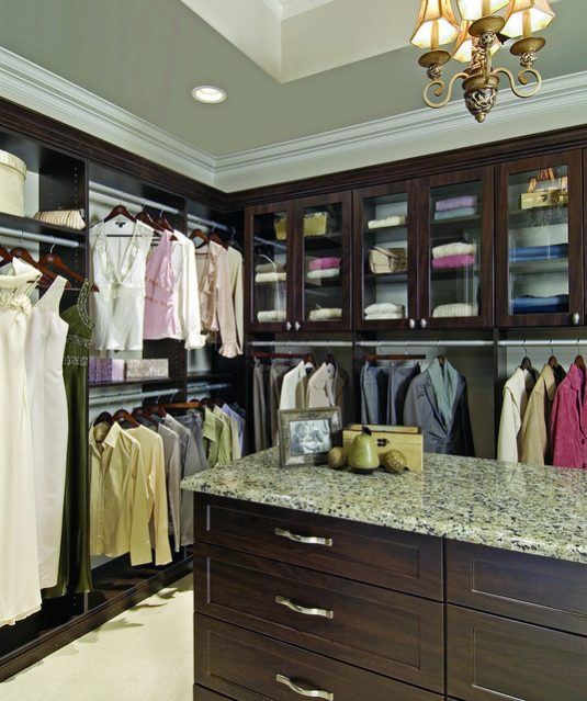 custom women's walk-in closet luxurious