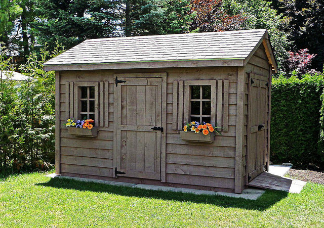 Organized shed with flowers