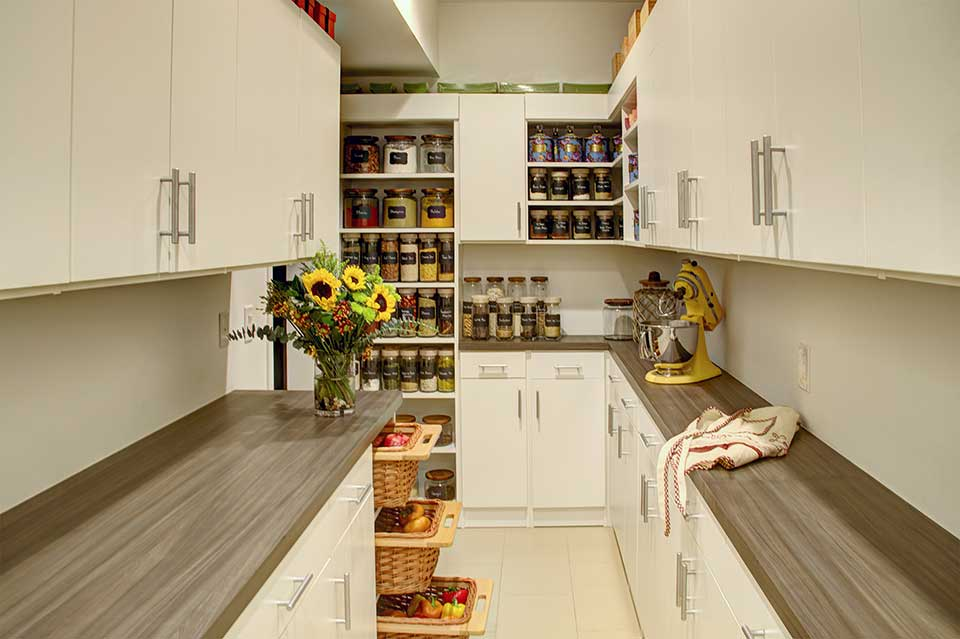 contemporary custom pantry shelving in white and grey