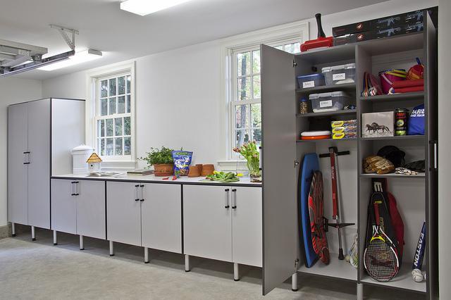 Custom garage storage cabinets grey