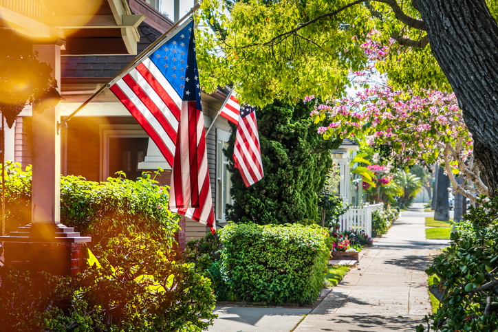 American flags on home exteriors