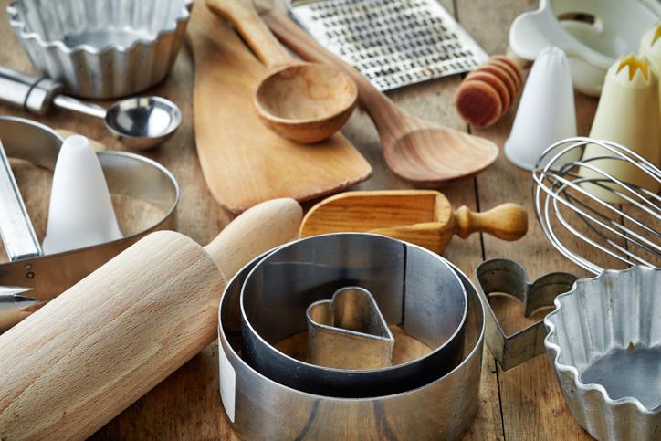 Kitchen utensils on counter