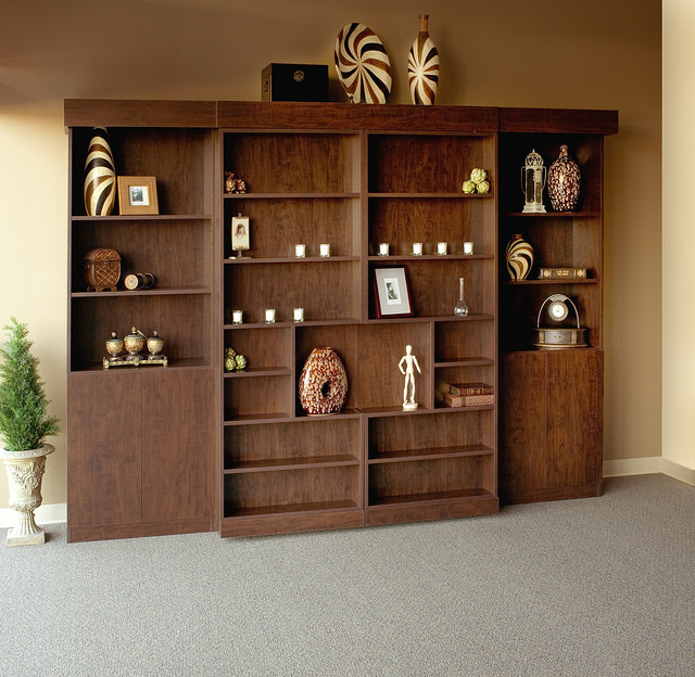 closed library bookcase Murphy bed