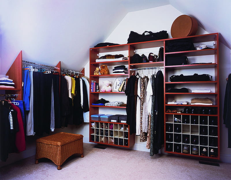 custom closet in attic space