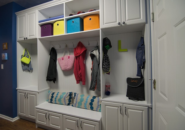 custom mudroom storage in a basement