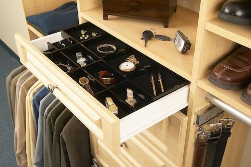 custom jewelry dividers in a closet