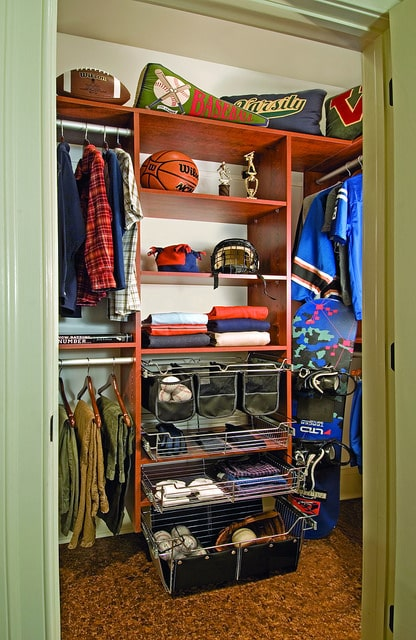small organized custom closet for boys