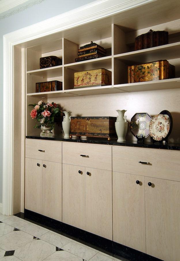 custom wall shelving and cabinets