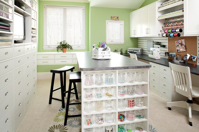 organized multipurpose craft room cabinets