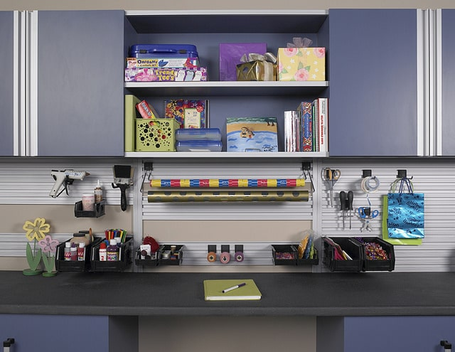 built-in workbench and hobby station in garage