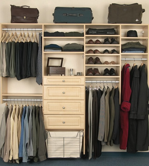 luggage in a maple custom closet system