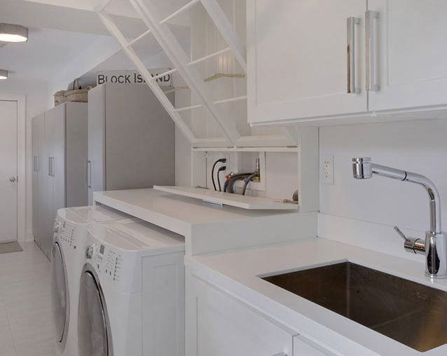 custom organized storage in utility laundry room