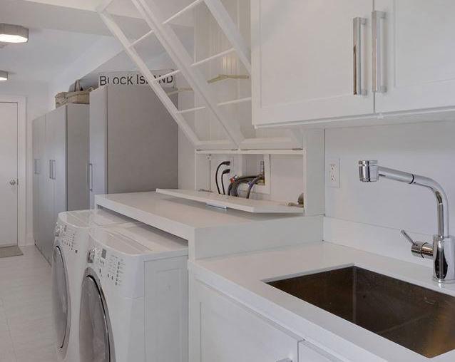 custom organized storage in utility laundry room