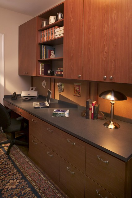 custom wall office cabinets in a small space