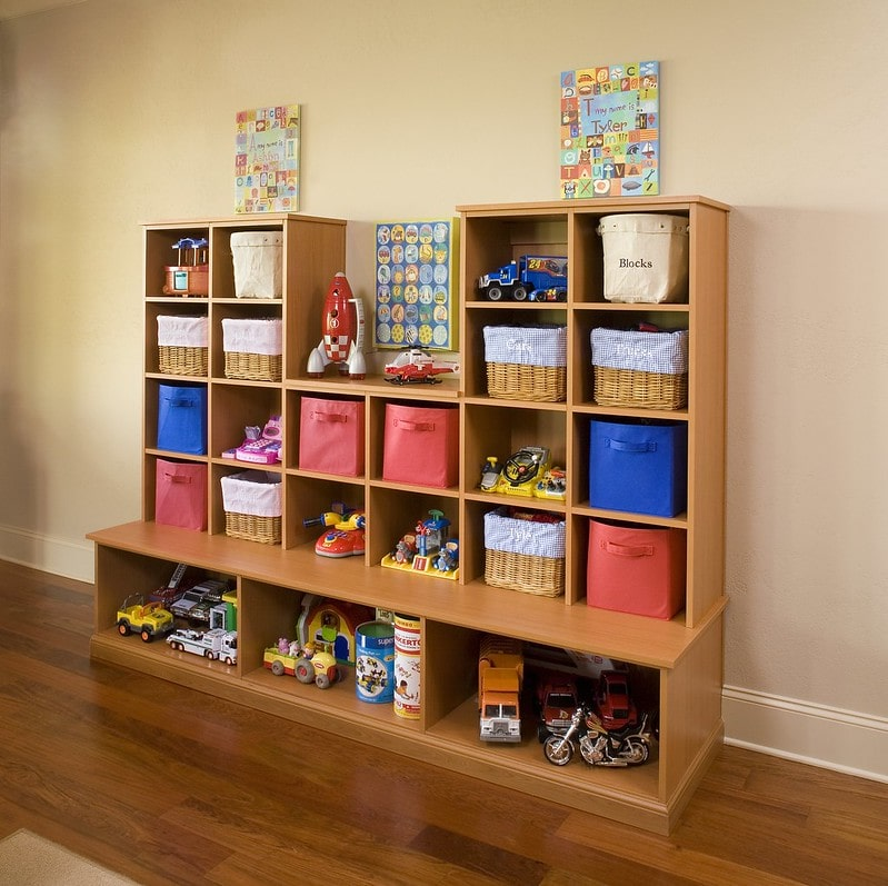 built-in playroom cubby organizer