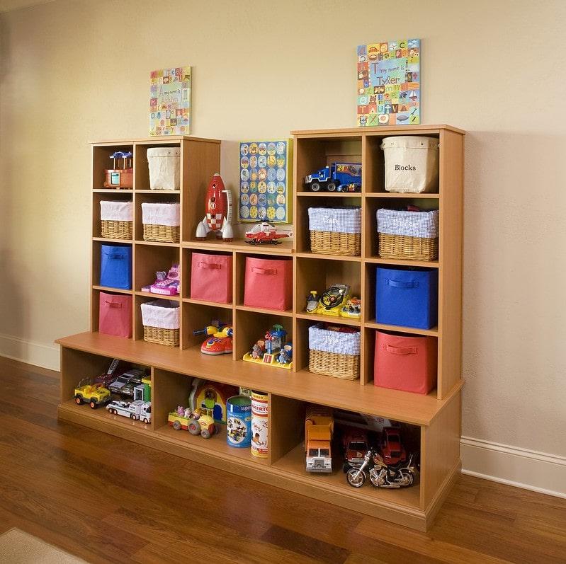 built-in playroom cubby organizer