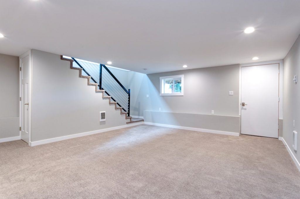 bright modern open basement