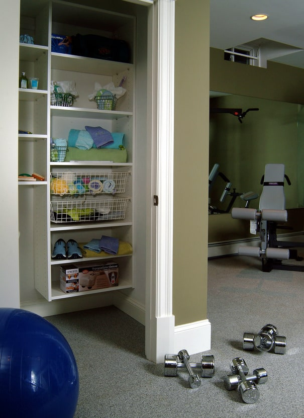 custom reach-in closet system for gym equipment