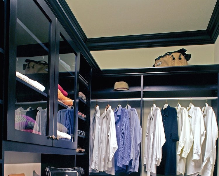 floor to ceiling closet storage in black