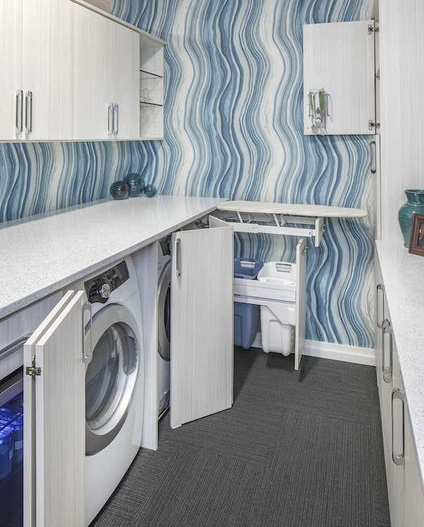 modern laundry room storage cabinets in white