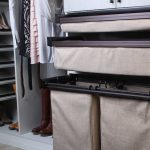 custom closet hamper and drawer bins in beige