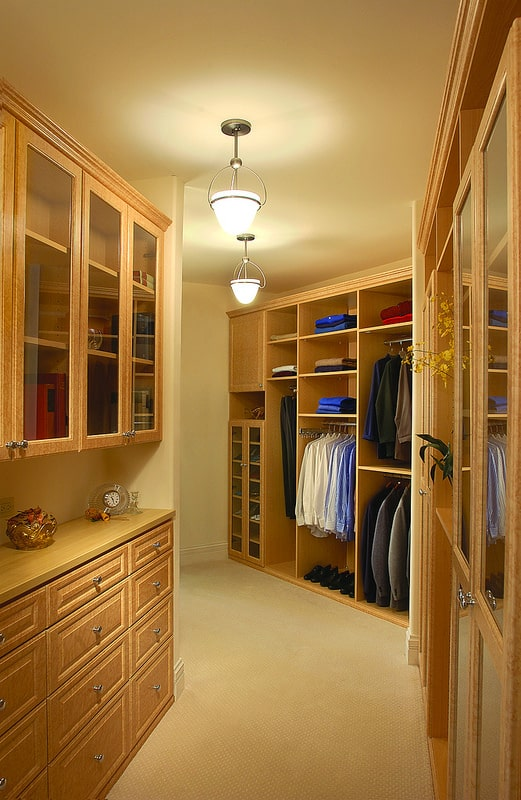 traditional custom wood closet angular layout